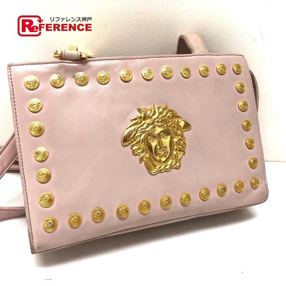 VERSACE Versace Medusa studs shoulder bag leather   light pink lady 71863a929af7d