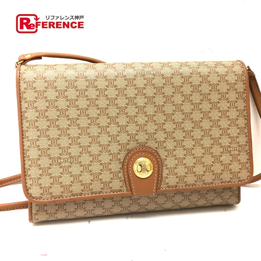CELINE Celine 2WAY bag clutch bag macadam vintage shoulder bag PVC X leather    beige Lady s b415c2aa0032a