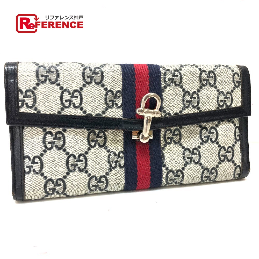 eff6a0596d9 Three GUCCI Gucci fold long wallet old Takeru Gucci wallet (there is a coin  purse) PVC X leather   navy Lady s