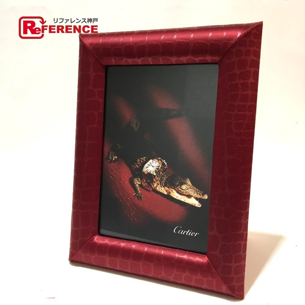 CARTIER カルティエ メンズ レディース ラドーニャコレクション クロコモチーフ フォトフレーム 非売品 ボルドー ユニセックス【中古】