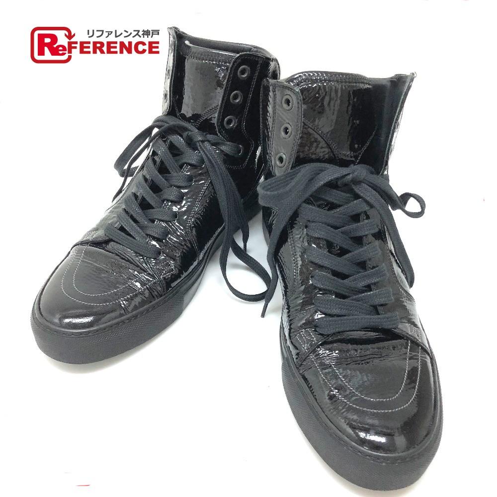 YVES SAINT LAURENT イヴ・サンローラン 249518 ハイカットスニーカー 靴 ハイカットスニーカー YSL スニーカー パテントレザー/ ブラック メンズ【中古】