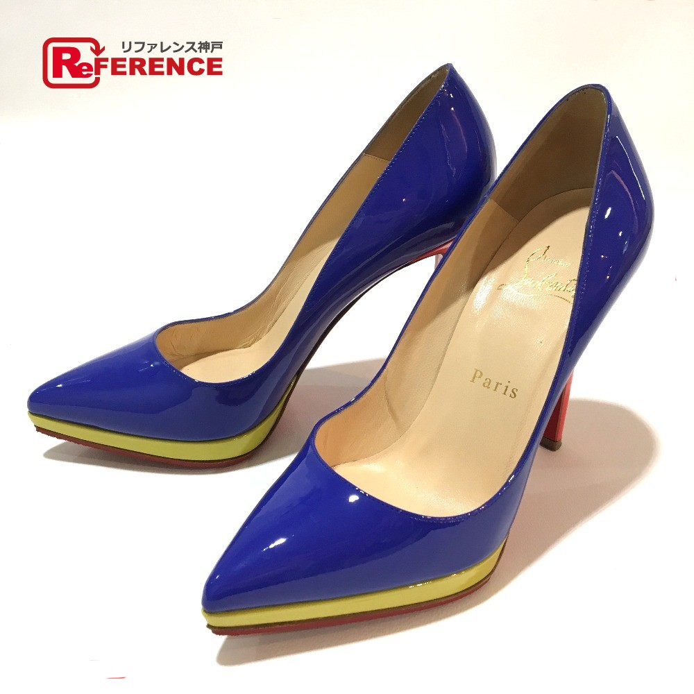 best website d180c db659 AUTHENTIC Christian Louboutin High heels Tricolol Shoe enamel pumps  blue/Red Patent Leather 1110971 Printed Size: 36