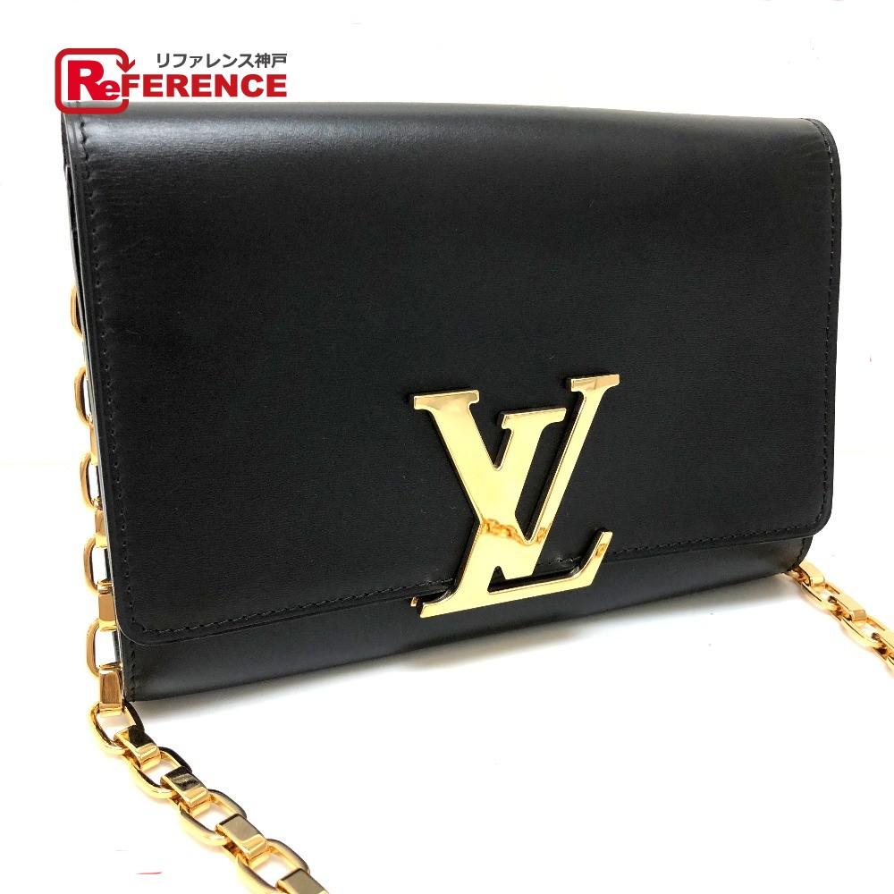LOUIS VUITTON ルイ・ヴィトン M94335 チェーンショルダーバッグ 財布バッグ ルイーズMM チェーンウォレット 長財布(小銭入れあり) レザー/ ノワール レディース 新品同様【中古】