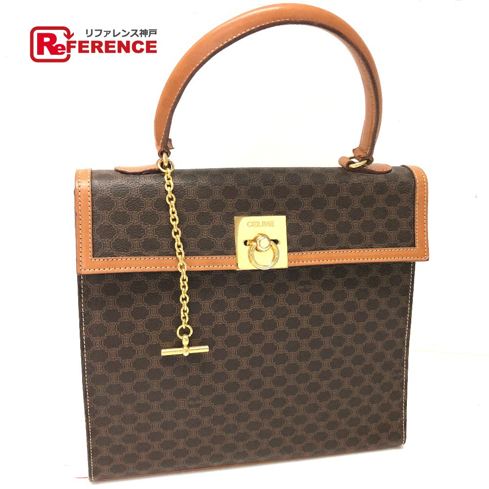 Celine Tote Bag Macadam Vintage Handbag Pvc X Leather Brown Lady S