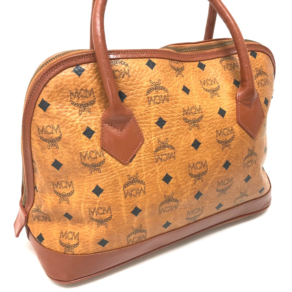 Authentic Mcm Logogram Logo Plate Tote Bag Hand Brown Leather