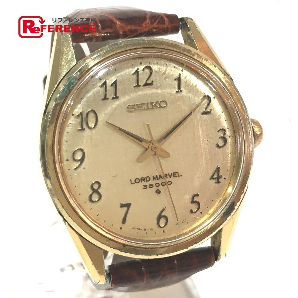 SEIKO セイコー 5740-8000 メンズ腕時計 ロードマーベル 36000 腕時計 GP/革ベルト ゴールド メンズ【中古】