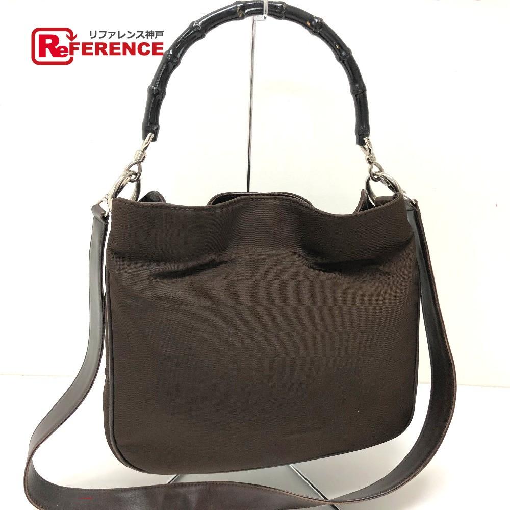 eb14f27e8b5f GUCCI Gucci 001.1638 2WAY bag handbag old Gucci bamboo handbag nylon /  brown Lady's ...