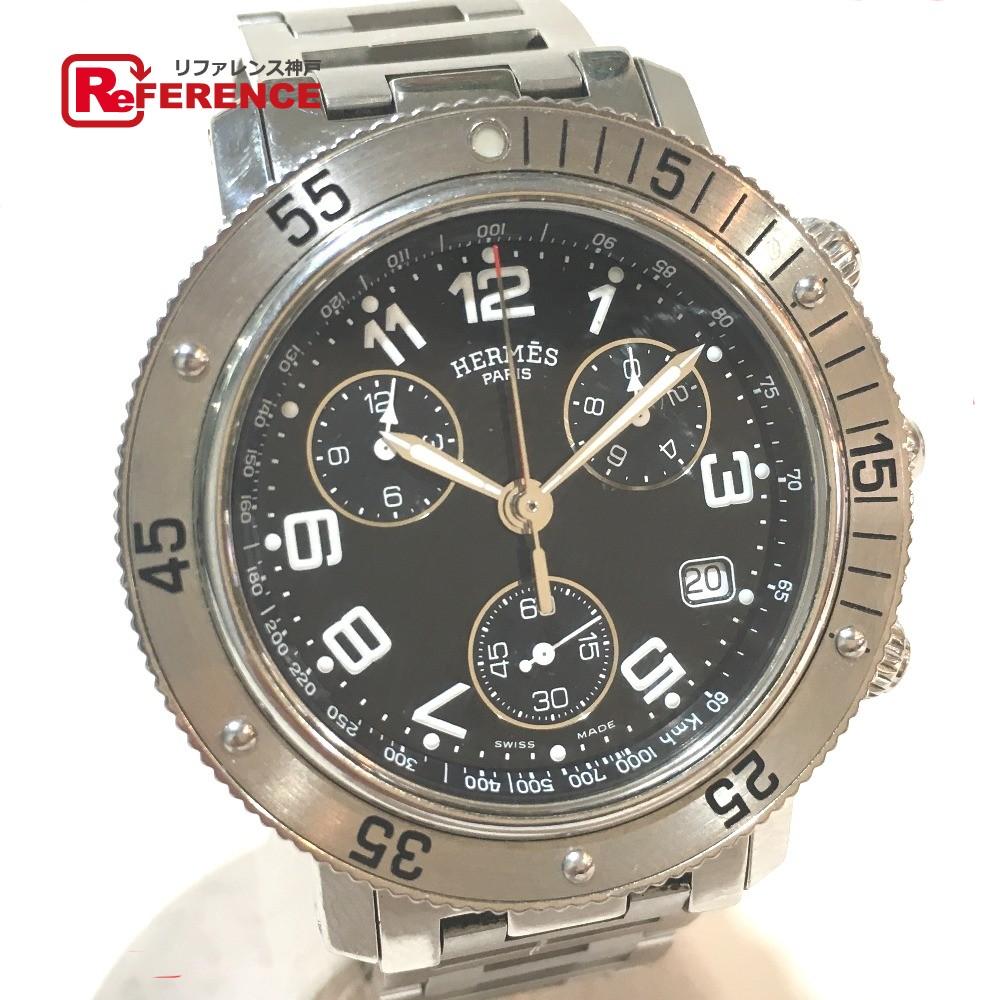 HERMES エルメス CL2.910 メンズ腕時計 クリッパーダイバー クロノグラフ 腕時計 SS シルバー メンズ【中古】