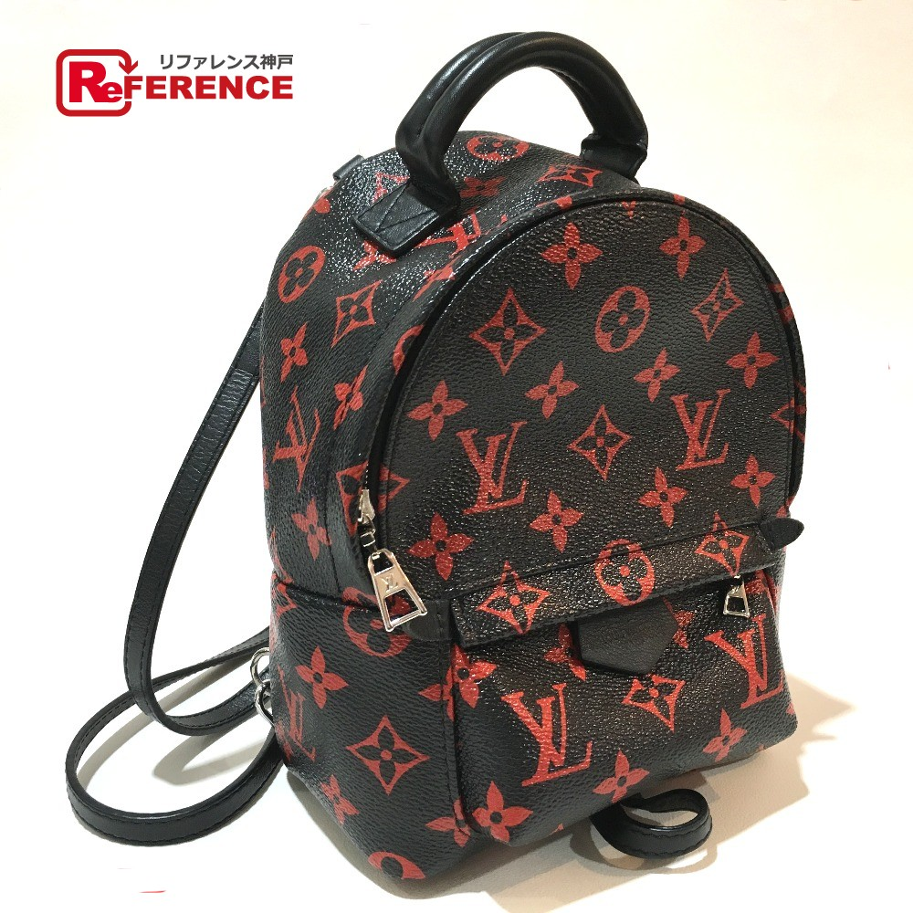 ca30078ad537 AUTHENTIC LOUIS VUITTON Monogram Anhura Rouge Palm Springs Backpack Mini Backpack  Backpack - Daypack Black Red Coating Canvas M41457