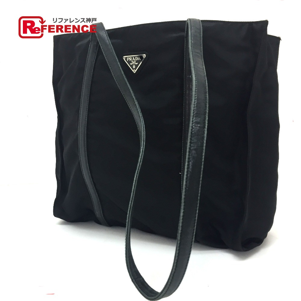 56c44ed7e2d8 PRADA Prada 1M1362 tote bag logo plate shoulder bag nylon X leather / black  Lady's
