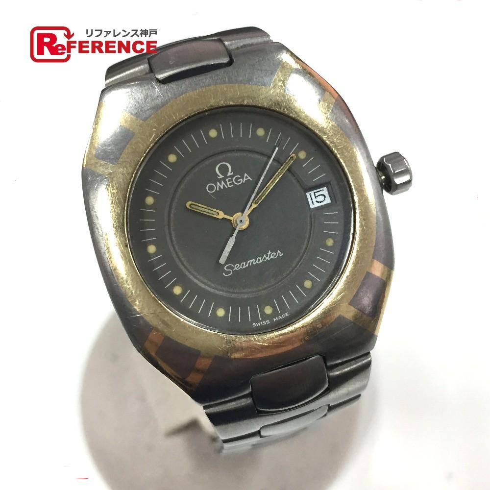 OMEGA オメガ ポラリス デイト 120m シーマスター 腕時計//YG×チタン シルバー メンズ【中古】
