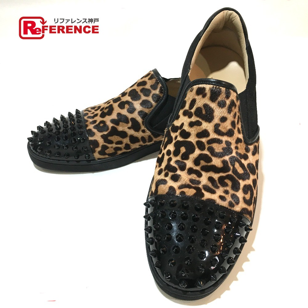 Brandshop Reference Authentic Christian Louboutin Loafers Spike D Island Shoes Casual Oxford Genuine Leather Brown Studs Leopard Mens Other Black Harako Enamel