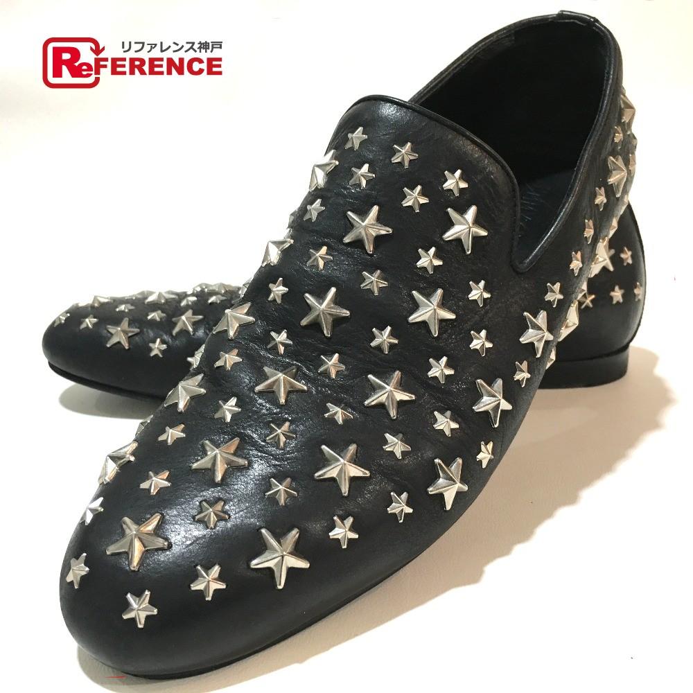 JIMMY CHOO ジミーチュウ 靴 メンズシューズ スタースタッズ ローファー レザー 黒 メンズ【中古】