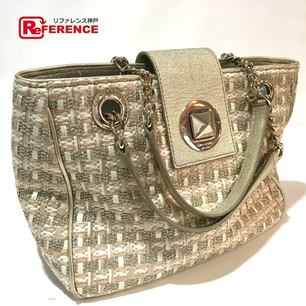 2e14ffc52e684e BRANDSHOP REFERENCE: AUTHENTIC Kate Spade With Chain straw Shoulder Bag  Champagne Gold straw | Rakuten Global Market