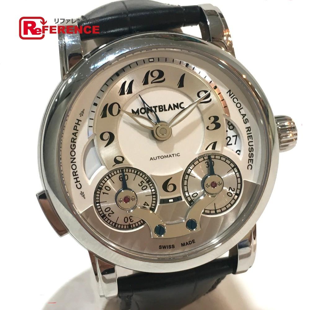 MONTBLANC モンブラン 106595 メンズ腕時計 二コラ・リューセック モノプッシャー クロノグラフ 腕時計 SS/クロコ革ベルト ブラックベルト メンズ 新品同様【中古】