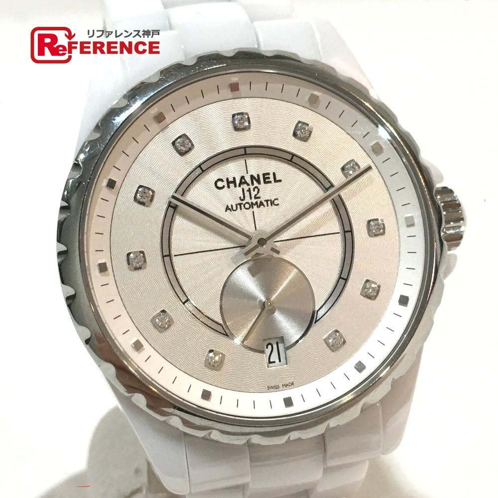CHANEL シャネル H4345 ボーイズ腕時計 メンズ レディース J12 11Pダイヤ スモールセコンド 腕時計 SS/セラミック ホワイト ボーイズ【中古】