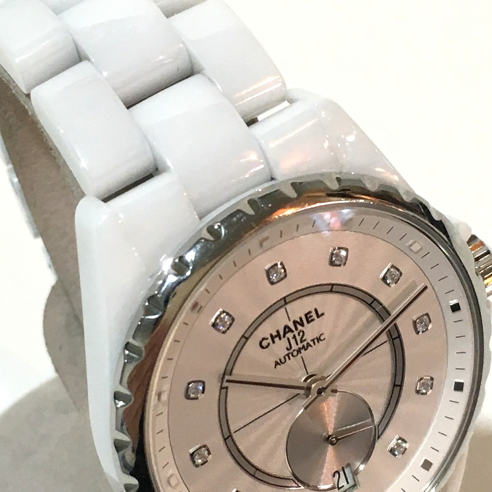48fe4756238 AUTHENTIC CHANEL 11P Diamond Small Second J12 Boys Wristwatch Men s Women s  Wristwatch White Stainless Steel ceramic H4345