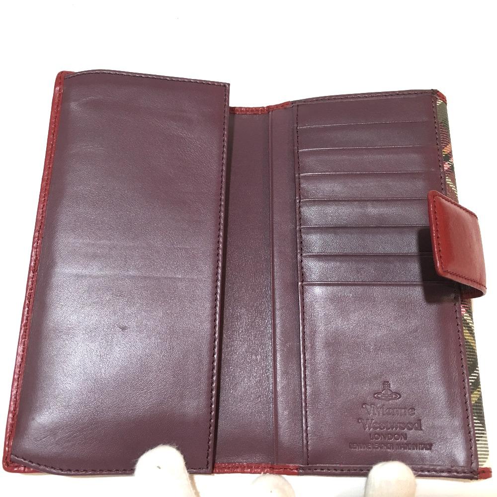 Lady's of Vivienne Westwood Vivien waist Wood W hook long wallet Aube check  bottle tit wallet (there is a coin purse) PVC Bordeaux origin