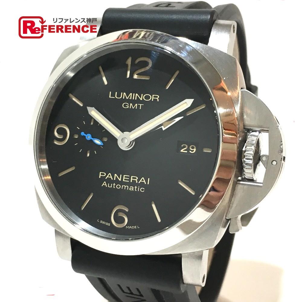 PANERAI パネライ PAM00320 メンズ腕時計 ルミノール 1950 GMT 3デイズ 腕時計 SS/ラバーベルト ブラックベルト メンズ【中古】