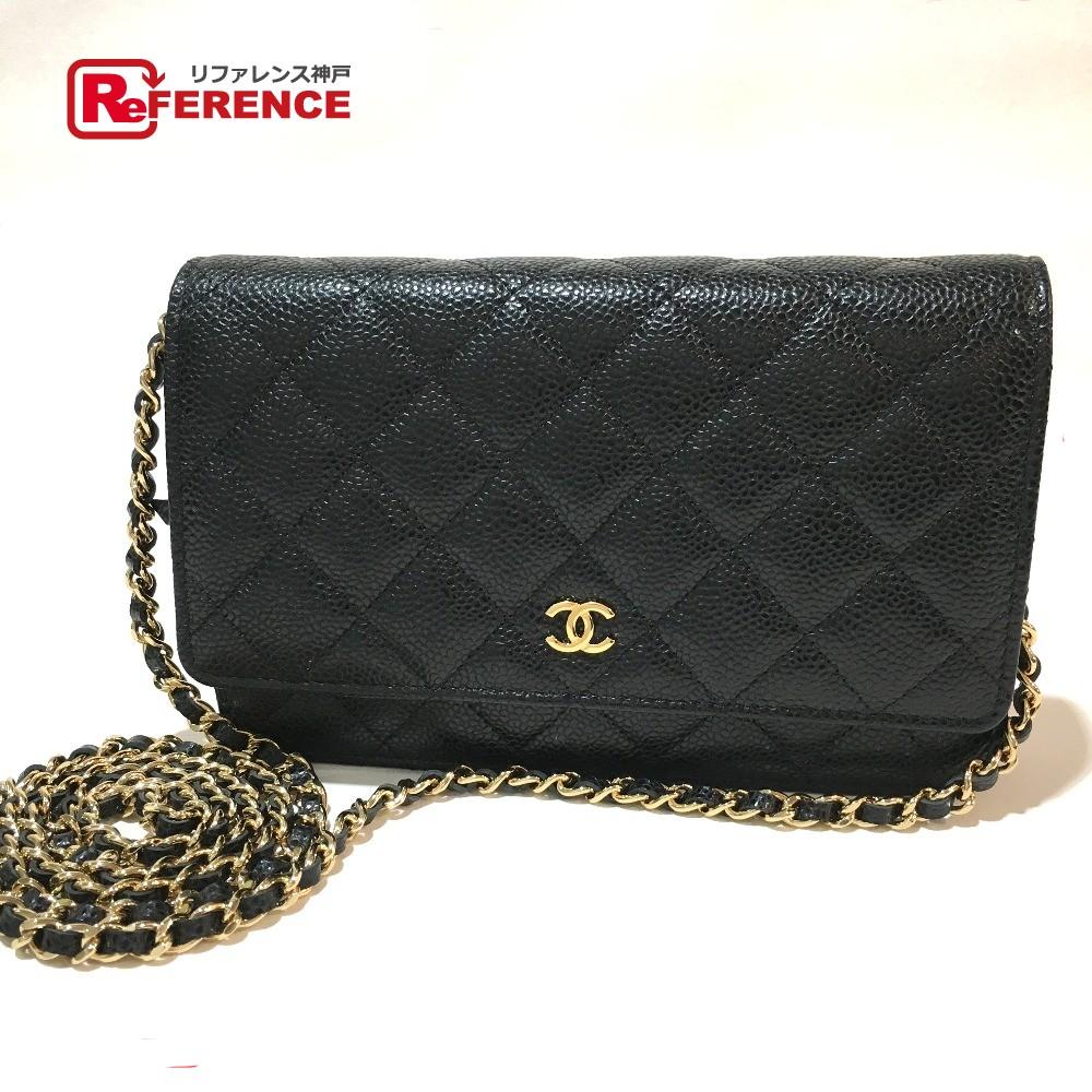 92cd0f7f6ed8 CHANEL Chanel A33814 chain wallet matelasse CC shoulder bag caviar skin  black Lady's mint condition ...