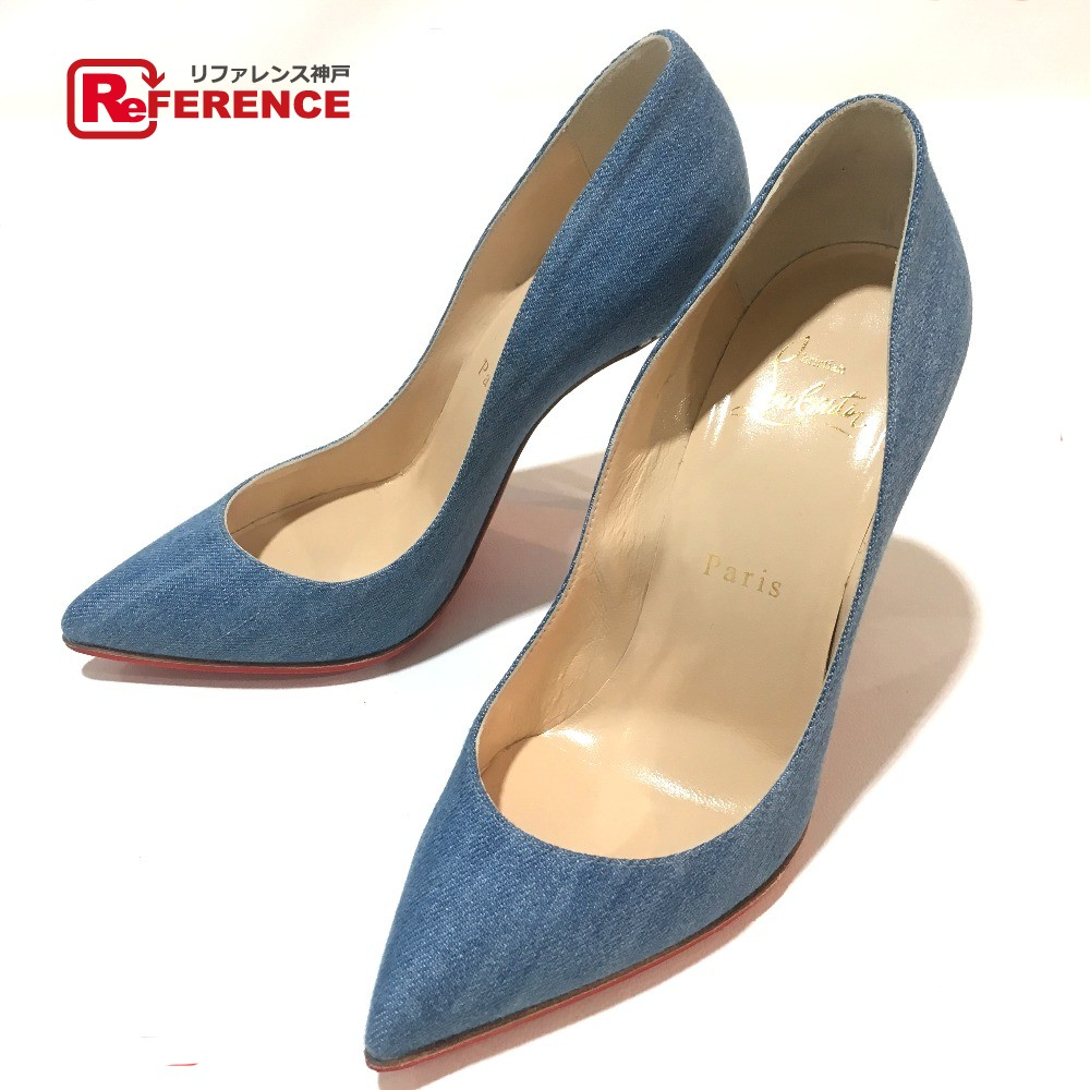 huge discount 5a6ce 2615c AUTHENTIC Christian Louboutin Shoes Hawaii Heel Pigalle Forreise 100 High  heels pumps blue Denim/ 1161141 36