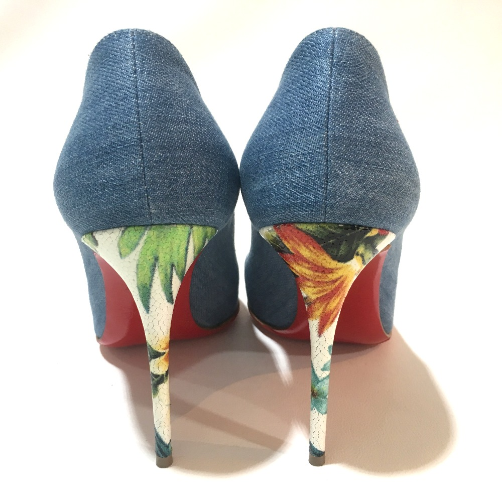 94ab7ed4116b AUTHENTIC Christian Louboutin Shoes Hawaii Heel Pigalle Forreise 100 High heels  pumps blue Denim  1161141 36