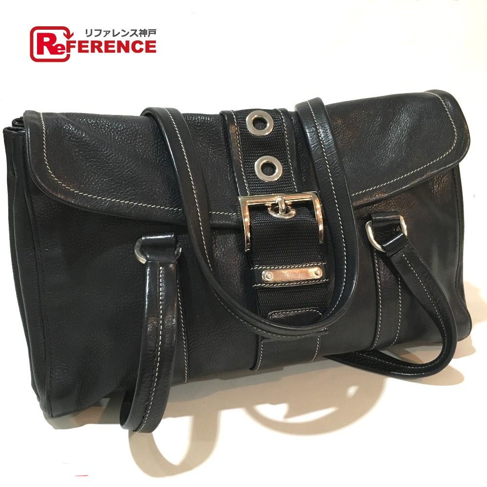 7799f64688bc ... リサイクル | リファレンス | 販売 | レア物 | 新品 | PRADA プラダ BR2436 ロゴプレート ベルト金具 フラップ  ショルダーバッグ レザー ブラック レディース