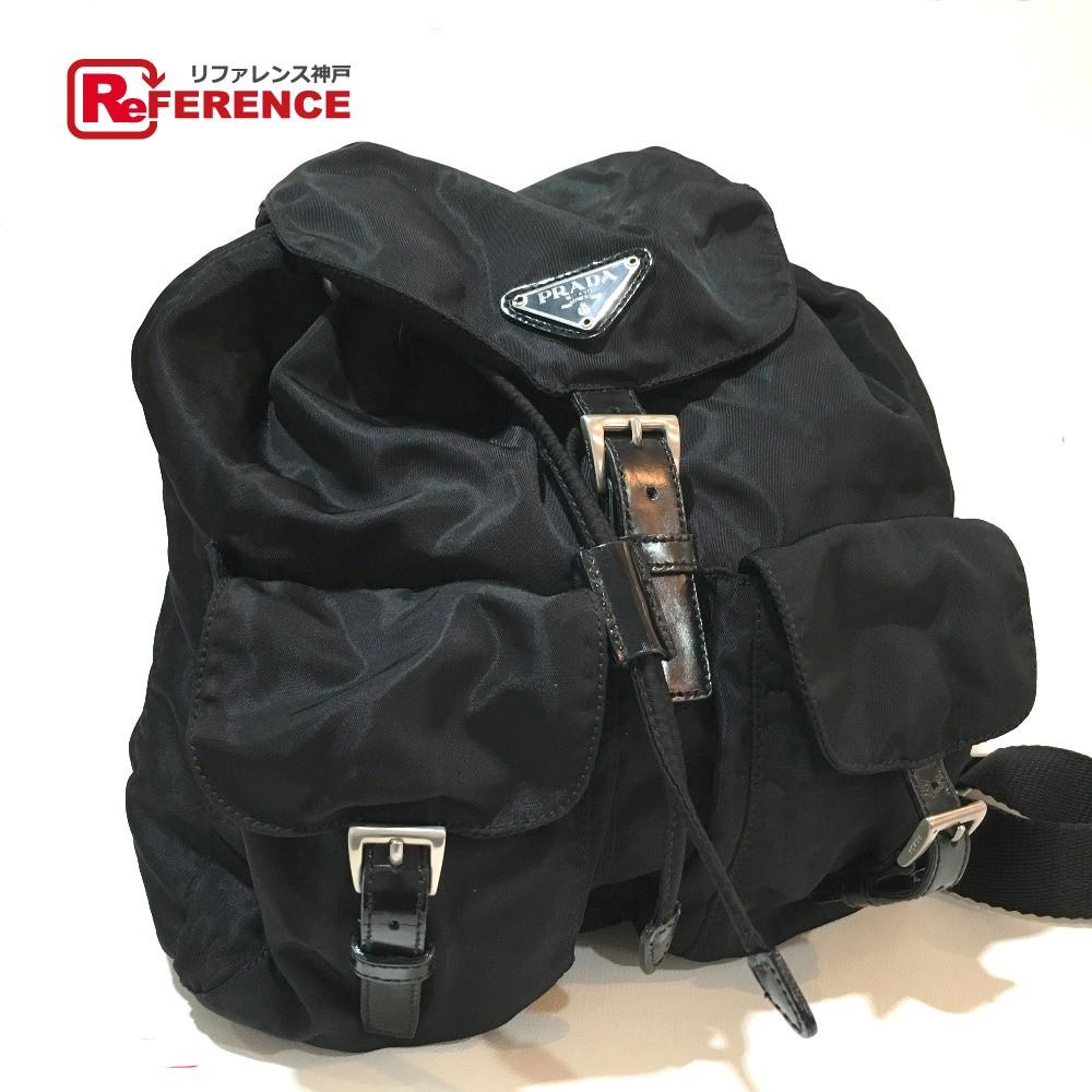 PRADA プラダ B2811 ロゴプレート  リュックサック バックパック リュック・デイパック ナイロン×レザー ブラック レディース【中古】