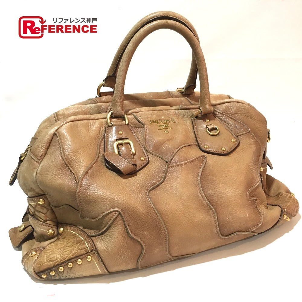 e8160761ef It is Lady s PRADA Prada patchwork mini-Boston bag handbag leather   lizard    black cobra yes