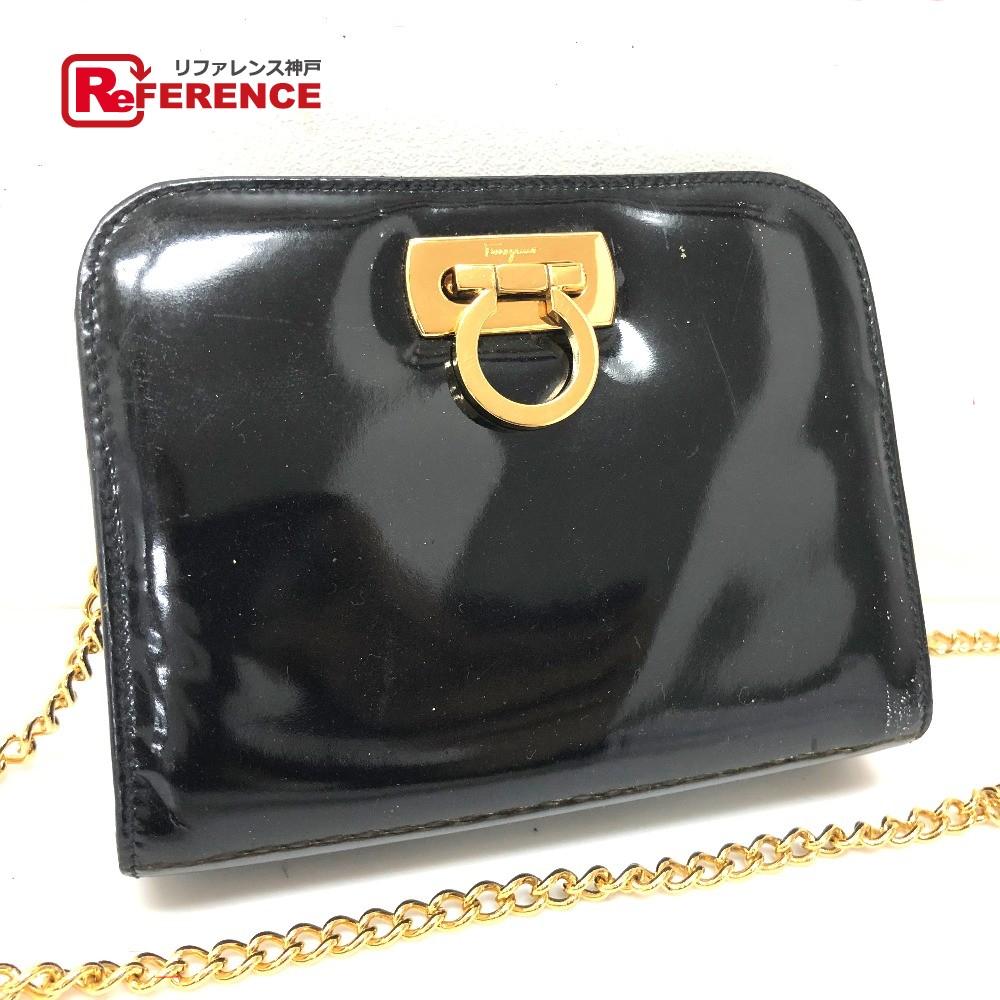 2024ffc334 BRANDSHOP REFERENCE  AUTHENTIC Salvatore Ferragamo Gancini Pochette Chain  bag Shoulder Bag Black Patent Leather