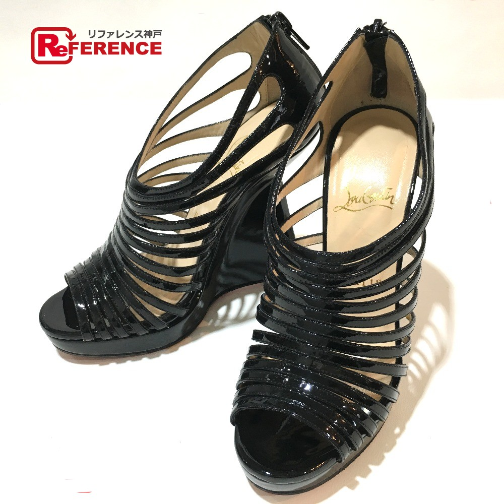 80b66cc3c2 AUTHENTIC Christian Louboutin shoes Gladiator Wedge sole Sandals Black  enamel 1121061 Printed Size: 36 ...