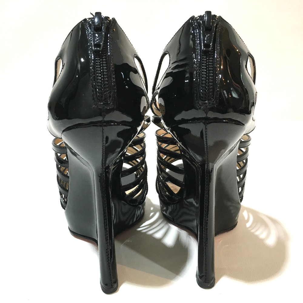 ad1e9de9a3 ... AUTHENTIC Christian Louboutin shoes Gladiator Wedge sole Sandals Black  enamel 1121061 Printed Size: 36 ...