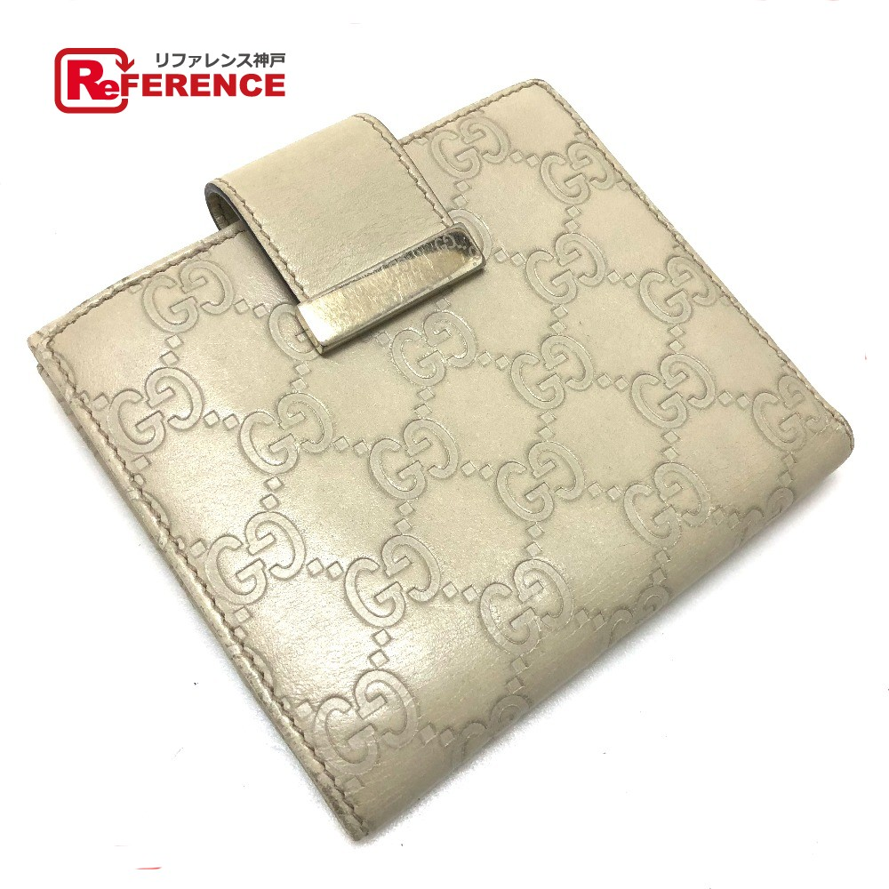 84cf282aa66 AUTHENTIC GUCCI Guccissima ICON BAR (icon bar) Double Snap Bifold short  wallet Bifold Wallet Beige Shima Leather 212090