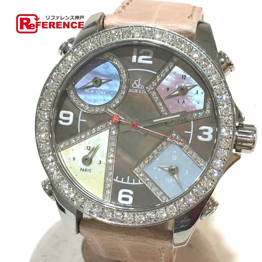 JACOB&CO ジェイコブ メンズ腕時計 5タイムゾーン ダイヤベゼル 腕時計 SS/クロコ革ベルト シルバー メンズ【中古】