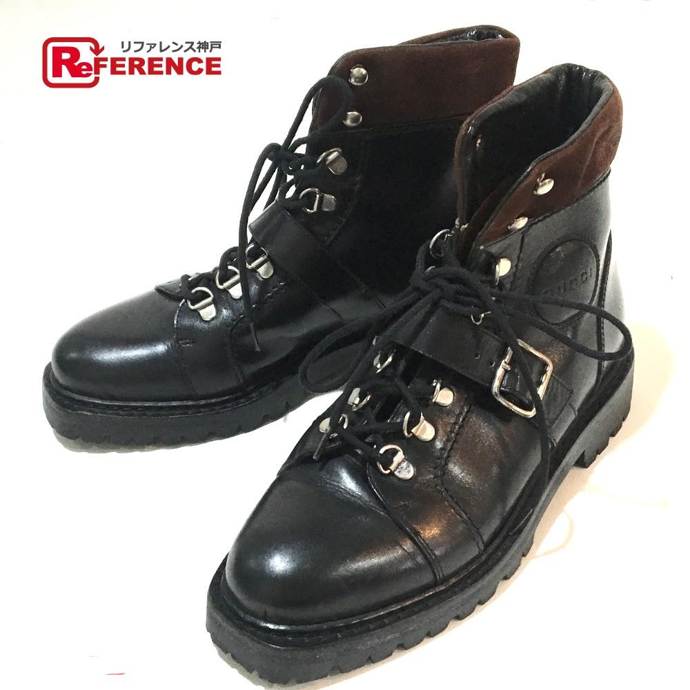 GUCCI グッチ ショートブーツ レースアップ 靴 ブーツ レザー ブラック レディース【中古】