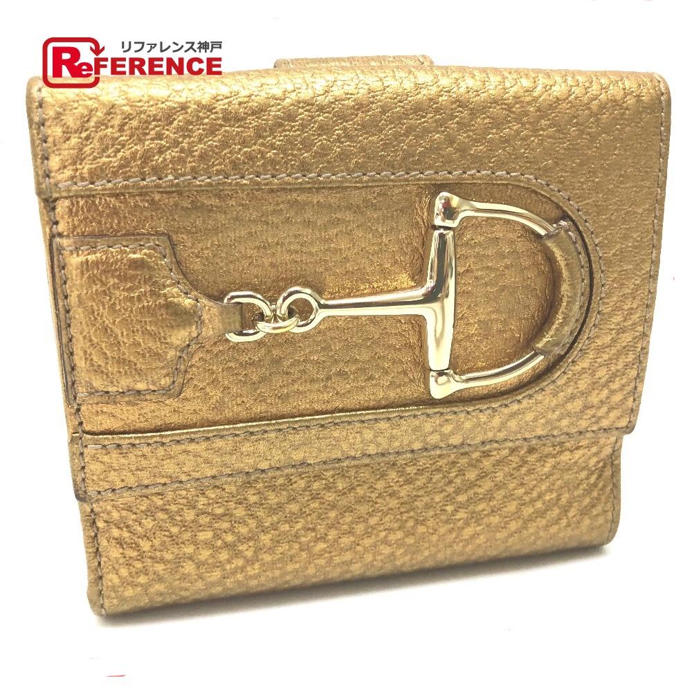 GUCCI グッチ 138029 Wホック財布 ハスラー ビット 二つ折り財布(小銭入れあり) レザー ゴールド ユニセックス【中古】