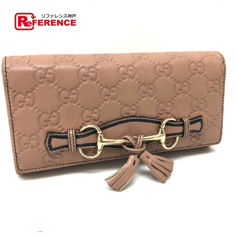 bdf21bea992 AUTHENTIC GUCCI Guccissima Horse bit Bifoldlong wallet with Chain Long  wallet Pink Beige Shima Leather 295360