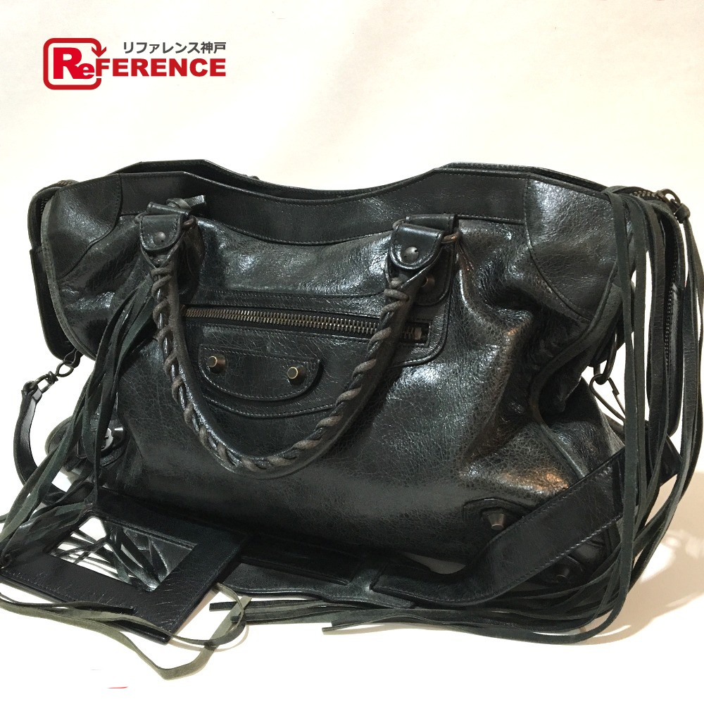 a38352800f05 AUTHENTIC BALENCIAGA With mirror The City 2 WAY Hand Bag Shoulder Bag Black  Leather 115748