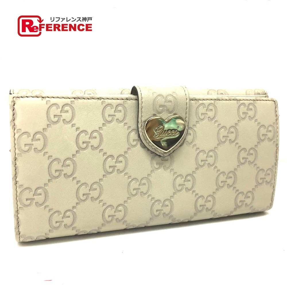 eb999f74868 AUTHENTIC GUCCI Guccissima HEART (heart) Double Snaplong wallet Long wallet  Creme series Shima Leather 203550
