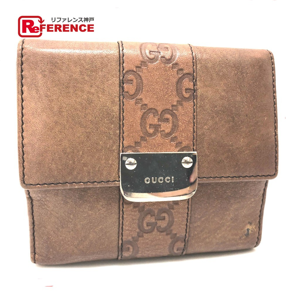 dde6304d6b4b AUTHENTIC GUCCI LADIES BAR (Women's Bar) Double Snap Wallet Bifold Wallet  Brown Leather 233011 ...