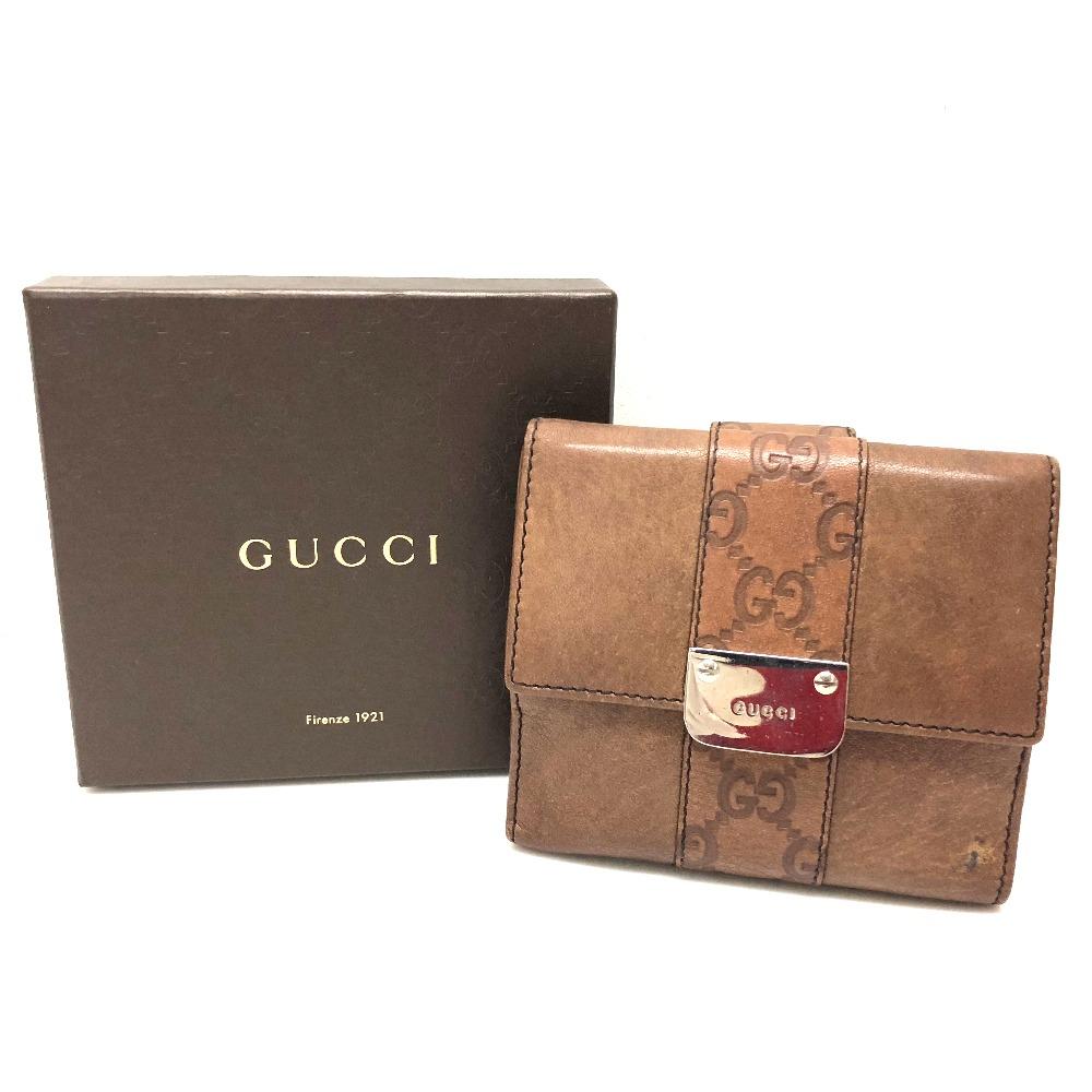 c6fc78d0b5d9 AUTHENTIC GUCCI LADIES BAR (Women s Bar) Double Snap Wallet Bifold Wallet  Brown Leather 233011