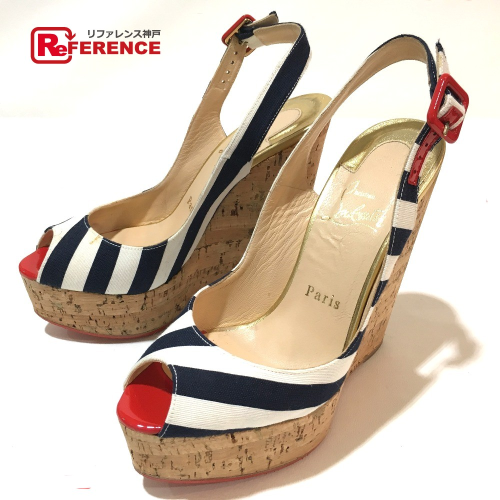 d46436797800 AUTHENTIC Christian Louboutin Wedge 140 UNE PLUME SLING Strap sandals pumps  White Navy Canvas cork 1140088 Printed Size  36