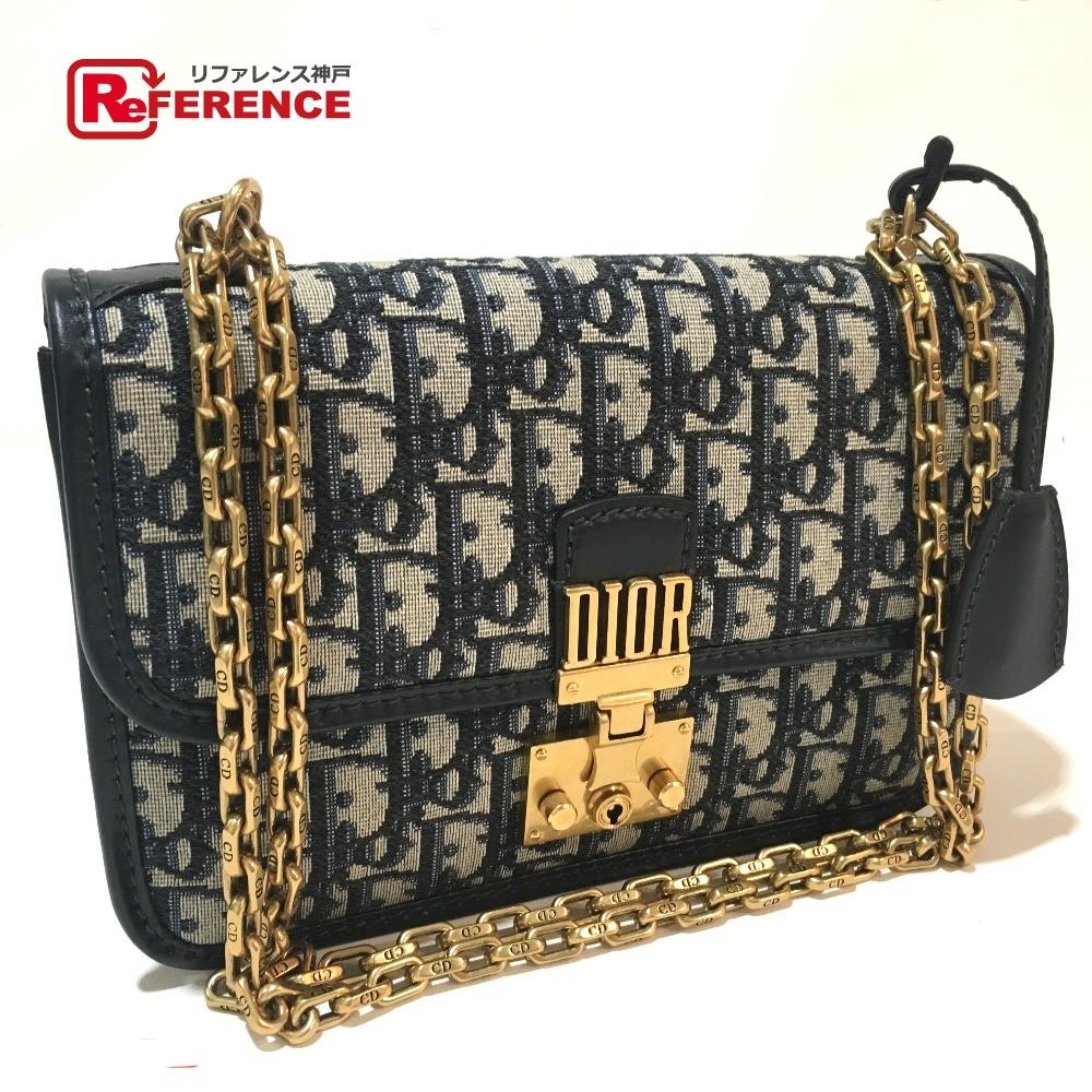 a26f721e6f AUTHENTIC Christian Dior Unused ChainShoulder OBLIQUE Oblique Signature  Jacquard Shoulder Bag Navy Canvas x Leather M5818CTZQ_M928 ...