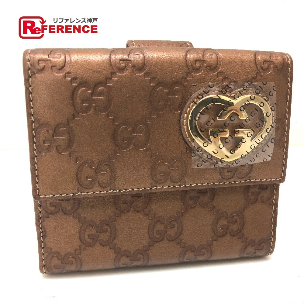 e5eaf426302 AUTHENTIC GUCCI Guccissima HEART (heart) Double Snap Wallet Bifold Wallet  Bronze series Shima Leather 245727