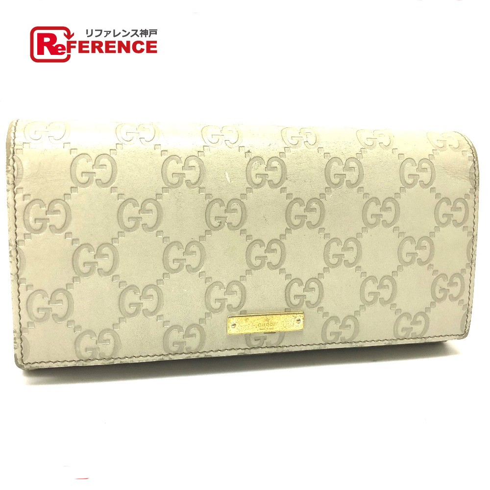 4a357b1f872 AUTHENTIC GUCCI Guccissima Bifoldlong wallet with Chain Long wallet Creme  Shima Leather 170426