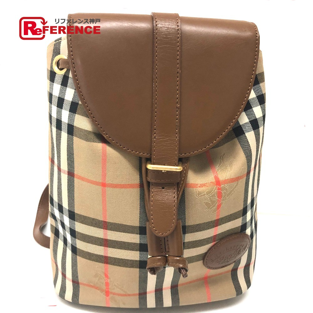 AUTHENTIC BURBERRY Check pattern Backpack Backpack - Daypack Beige Canvas x  Leather  2f7279ef88