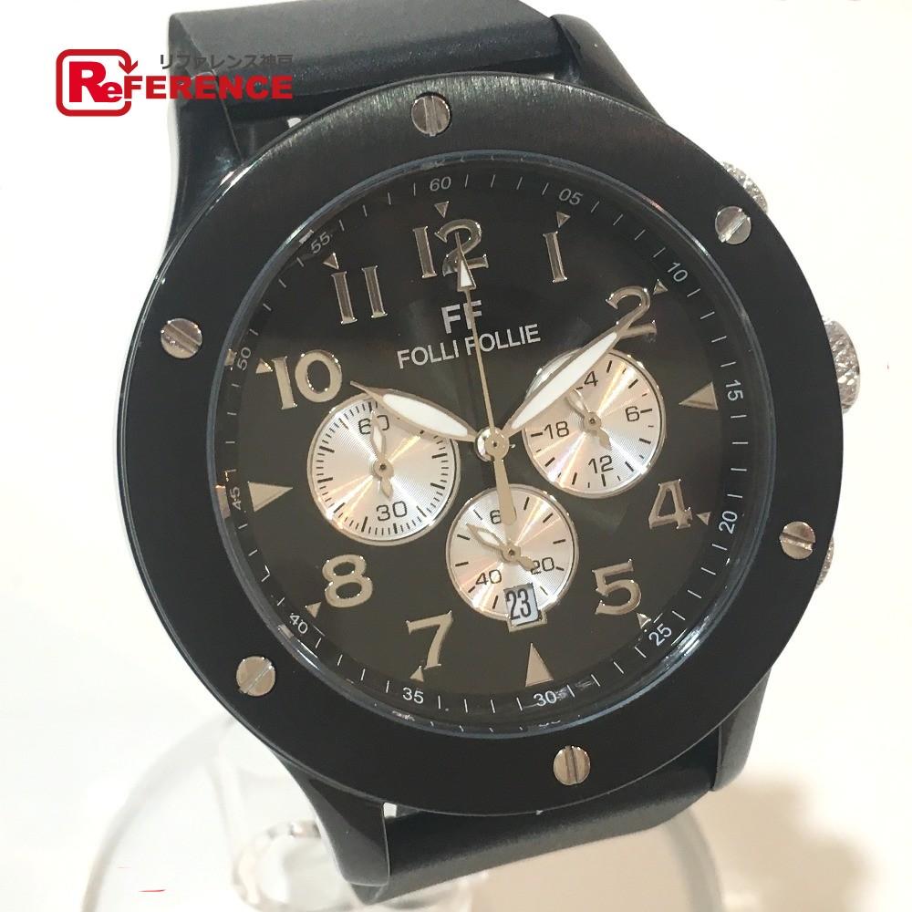 Folli Follie フォリフォリ WT6Y001SE メンズ腕時計 クロノグラフ 腕時計 SS/ラバーベルト ブラック メンズ【中古】