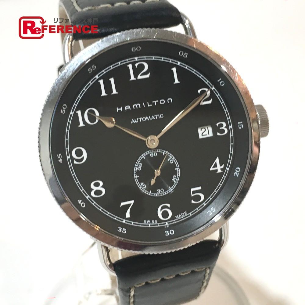 HAMILTON ハミルトン H784150 メンズ腕時計 カーキ ネイビ- パイオニア デイト スモールセコンド 腕時計 SS/革ベルト シルバー メンズ【中古】