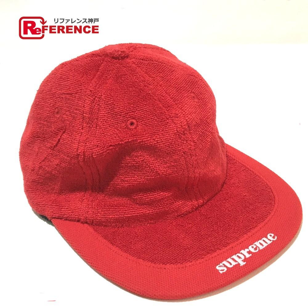 AUTHENTIC Supreme Unused cap Terry Pile Visor Logo Men s Women s hat Red 34ddd14e3