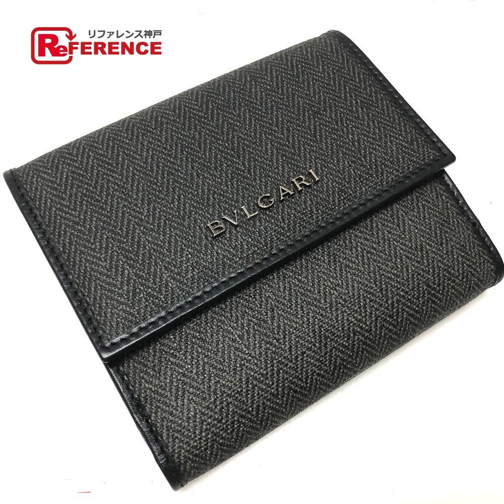 BVLGARI ブルガリ 32586 ウィークエンド 二つ折り財布(小銭入れあり) PVC×レザー/ グレー レディース 未使用【中古】